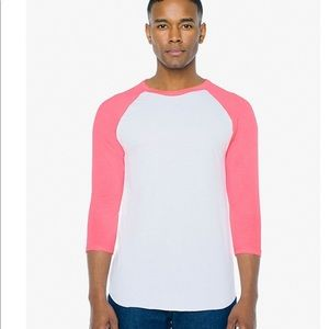 American apparel baseball tee 3/4 sleeve pink